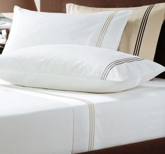Pembroke LINEN HOUSE BOUTIQUE  Features: Cotton Sateen 700 thread count Satin stitch embroidered headers Superb quality - #sheets Satin Stitch, Headers, Sheet Sets, Bed Sheets, Bed Pillows, Pillow Cases, Count, Bedding, Range