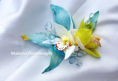Beach Wedding TROPICAL HAIR CLIP Hawaiian Orchids silk flowers Bridal Hair piece, Headpiece, Hair Accessory, Bridesmaid, Wedding, Fascinator by MalamaPuaBridal on Etsy