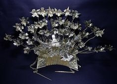 Miao silver headdress,China Miao headdress that usually comes with matching silver hairpins depicting embossed flowers and birds set on trem...