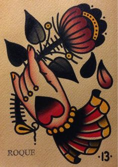 Hand and flower tattoo flash art -  Antonio Roque. Frederick, MD.