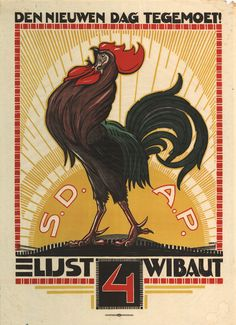 Heading for the new day!  Election poster for the Dutch Social Democratic Party. By Albert Hahn jr. (1921)