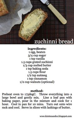 kirsten and co.: easy peasy zuchinni bread - used this as a starting point for my own version. used honey and few drops of stevia, mashed banana and avocado with 1 tbsp coconut oil for sugar and butter, used ww flour and 2 tbsp ground flax, omitted spices and added choc chips