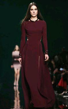 Paris Fashion Week Fall 2014 Elie Saab deep red dress modest style muslim fashion