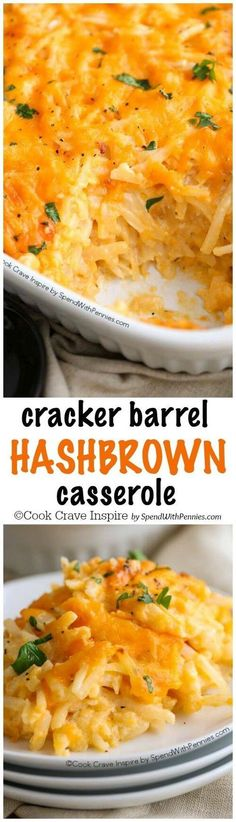 This is my favorite casserole ever! Copy Cat Cracker Barrel casserole needs just 5 minutes of prep and is absolutely cheesy, delicious and completely irresistible! The perfect breakfast casserole! Baked Hashbrown Recipes, Ham And Hashbrown Casserole, Cheesy Potatoes With Hashbrowns, Potato Casserole Hash Brown, Oven Hashbrowns, Cheesy Oven Potatoes, Chessy Potatoes, Cheesy Hashbrown Bake, Shredded Hashbrown Recipes