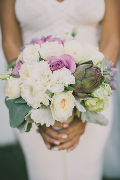 bouquet with artichoke, photo by Dave Richards http://ruffledblog.com/elegant-palm-springs-wedding #flowers #bouquets
