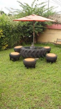 Unique Old Furniture Repurposing Ideas For Yard And Garden Old Furniture, Recycled Furniture, Garden Furniture, Outdoor Furniture Sets, Outdoor Decor, Reuse Old Tires, Tire Art, Tractor Tire, Home Entertainment Centers
