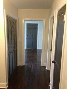 Interior Sherwin Williams paints (all No VOC, Harmony): Trim: 7012 Creamy, semi-gloss; Walls: Natural Choice, eggshell; Breakfast room wall: Chalkboard Paint; Ceilings: Reserved White, flat; Doors: Urbane Bronze, semi-gloss.
