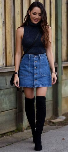 denim skirt and knee high boots