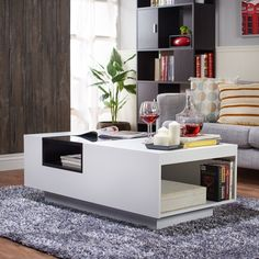 Furniture Of America Acarri Modern Glass Top Coffee Table White