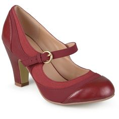 Women's Journee Collection Siri Two-Tone Tweed Mary Jane Pumps - Wine 7, Cabernet Red
