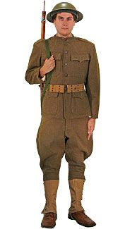 WWI uniform- The color was a dark green. They had utility belts and rounded hats and their pants went down to the ankle. World War Ii, My World, First World, American Uniform, Soldier Costume, British Soldier, Cool Costumes, Girl Humor, Wwi