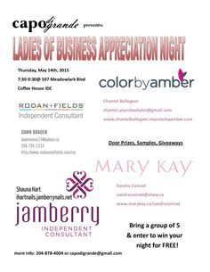Join us this Thursday for our Ladies of Business Appreciation night. Good food, cheap drinks, giveaways and more! Hope to see you there.