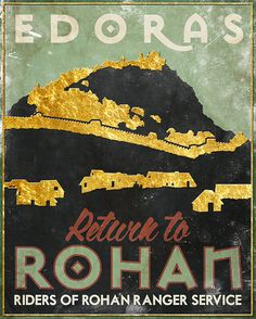 8 x 10 Rohan LOTR Travel Poster Tolkien inspired from by PasspArt, $12.00