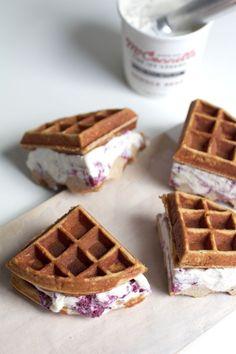 Gluten free peanut butter waffle ice cream sandwiches