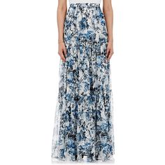 Erdem Sigrid Tiered Long Skirt (2,655 CAD) ❤ liked on Polyvore featuring skirts, multi, tiered skirt, maxi skirt, erdem, floral skirt and erdem skirt