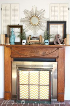 winter mantel ideas (especially this one with shutters) collected by My Blessed Life