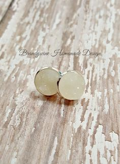 Druzy Earrings, 12 mm Druzy, Druzy Studs, White Druzy Earrings, Natural Color Druzy Earrings, Affordable Jewelry, Earth Jewelry by BrandywineHD on Etsy