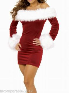 049ea1cc053 Sexy Ladies Fancy Red Xmas Dress Santa Womens Christmas Costume Outfit 288