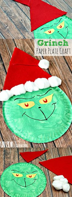 Who doesn't love the Grinch during the holidays? This Grinch Paper Plate Craft for kids is super easy to make and kids will love it! It's not Christmas unless it's Grinchmas with the Grinch! Kids Crafts, Paper Plate Crafts For Kids, Holiday Crafts For Kids, Daycare Crafts, Preschool Christmas, Toddler Crafts, Preschool Crafts, Christmas Christmas, Christmas Crafts With Paper
