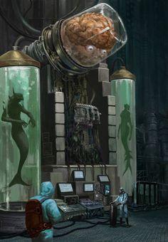 Big electric brain by Wang Ziyang July 18 2019 at Fantasy Kunst, Sci Fi Fantasy, Dark Fantasy, Arte Sci Fi, Sci Fi Art, Cthulhu, Science Fiction Kunst, Sci Fi Wallpaper, Arte Robot
