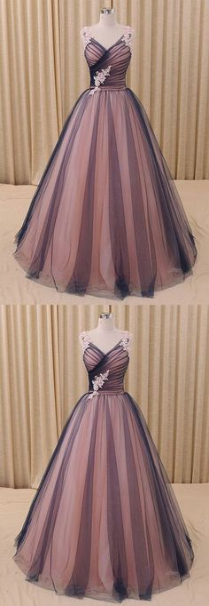 Charming A-Line V-Neck Navy Blue Princess Tulle Ball Gown Formal Evening Dress