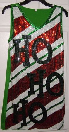 c31b308c Christmas holiday tank dress sequined candy cane ho ho adult lg women's  stretch