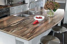 comptoir de cuisine stratifié moderne matériau hybride imitation bois style rustique #kitchen #modern