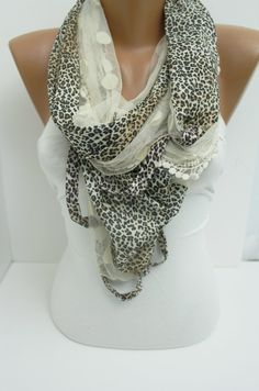 Lace and Leopard Breezy Scarf  Shawl- New. Etsy.