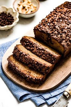 Paleo Zucchini Bread with almond flour that is also gluten free, dairy-free, and with a minor adjustment keto friendly as well. It is a deliciously moist and flavorful quick bread recipe that is topped with chocolate chips. #paleo #zucchinibread #almondflour #recipe #quickbread #foolproofliving Zucchini Muffins, Paleo Zucchini Bread, Easy Zucchini Recipes, Healthy Bread Recipes, Healthy Baking, Baking Recipes, Cookie Recipes, Dessert Recipes, Healthy Zucchini