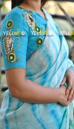 Beautiful sky blue color designer blouse with floral and butterfly design hand embroidery work. Sari Blouse Designs, Designer Blouse Patterns, Bridal Blouse Designs, Blouse Styles, Maggam Work Designs, Yellow Kurti, Diana, Blouse Models, Indian Designer Wear