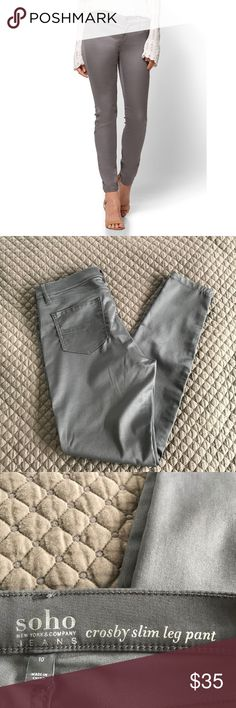 d253b56b932a10 New York & Company Crosby Slim Leg Pants Sleek looking slim leg pants  with faux