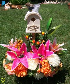 Remembering Our Loved Ones...With Fountain-Lake Creations. Hand Made Headstone Saddles With Perched Bird On Bird House For Sale And Also Custom Made To Your Specifications. You Choose Your Colors & Style. Order Yours Today. $30.00