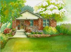 Watercolor House Painting 8x 10 Personal by maryfrancessmith