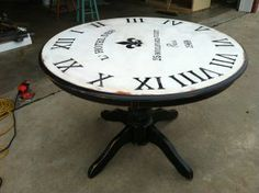 """""""Turning an old junk table into a faux clock..."""" Visit www.junkobsessed.com for more fun projects! #refurb #clock #table"""