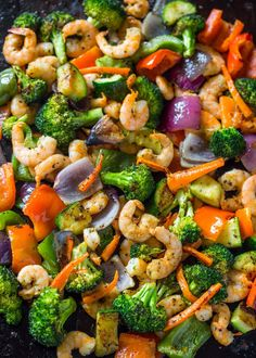 Easy One Pan Roasted Shrimp and Veggies Kirsten: Used asparagus, green and yellow zucchini, onion, broccoli, sweet potato, and shrimp