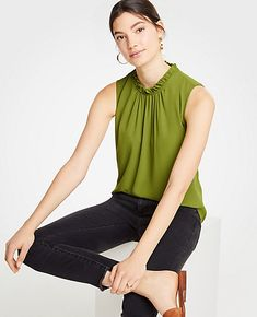 Shop Ann Taylor for effortless style and everyday elegance. Our Corded Ruffle Neck Shell is the perfect piece to add to your closet.