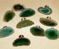 Small Custom Green Agate Slice Drawer Pulls Knobs by LandiDesigns, $9.99