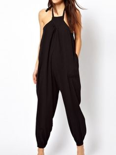 Halter Neck Loose Pockets Pure Color Big Size Women Summer Jumpsuits