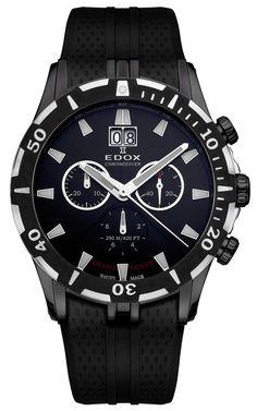 Edox Grand Ocean Chronograph Black Dial Black Rubber Mens Watch 10022-37N-NIN