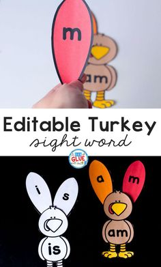 Turkey Editable Sight Word Activity - A Dab of Glue Will Do
