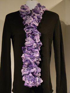 Purple scarf ruffle scarf frilly scarf sashay by JANSONESTOPSHOP, $19.50