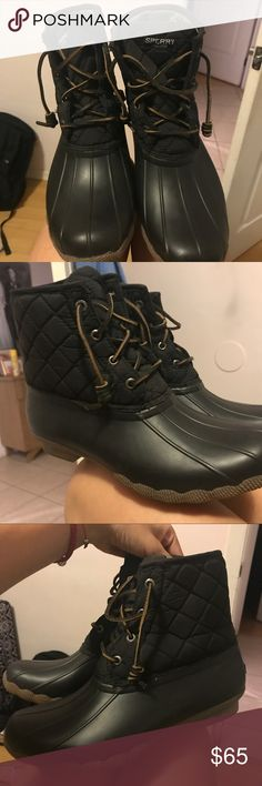 Sperry boots Sperry duck boots, only worn once. Excellent condition. Offers welcomed Sperry Shoes Winter & Rain Boots