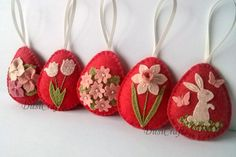 """Felt easter decoration - red felt eggs with Easter bunny and spring flowers including tulips, daffodils and hydrangea flowers.  Listing is for 5 ornaments  If you would like a different combination, please convo me and I will prepare variation for you.  Size of my decorated eggs is about 2"""" 9€cd."""