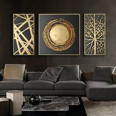 3 pieces Abstract Gold Foil Art Modern Pictures Canvas Painting Wall Poster for Living Room Office Home Decorative Ready to Diy Canvas Art, Canvas Art Prints, Hanging Paintings, Gold Leaf Art, Modern Pictures, Foil Art, Rooms Home Decor, Bedroom Decor, Art Moderne