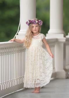 White Or Butter Cream Lace Boho Rustic Flower Girl Dress