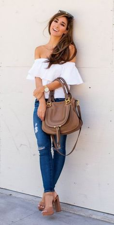 #Summer #Outfits / Off the Shoulder White Top + Ripped Skinny Jeans