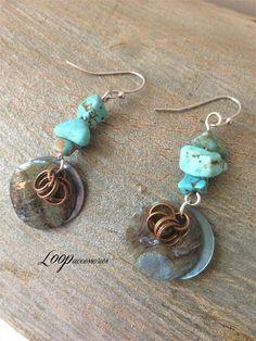 Turquoise Short EarringsShell Wire EarringsTribal Boho