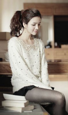 Fuzzy peter pan collar sweater