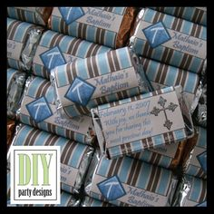 DIY custom candy wrappers for baptism favors