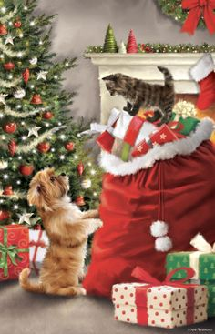 Happy Christmas Day, Christmas Scenery, Christmas Artwork, Cool Christmas Trees, Christmas Paintings, Christmas Animals, Christmas Cats, Christmas Wallpaper, Christmas Wishes